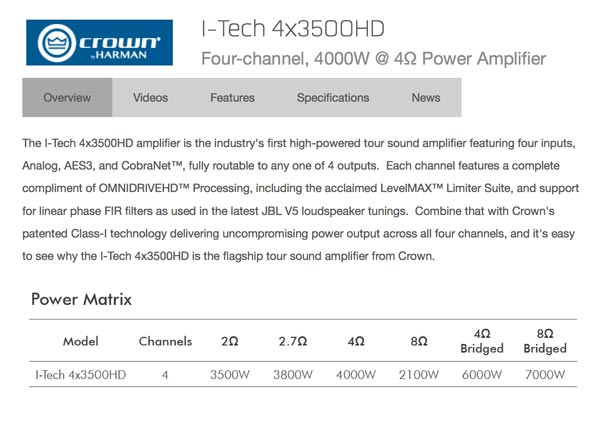 CROWN iTech 4X3500HD specifications